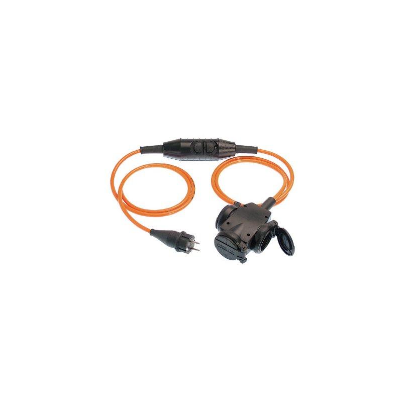 Personenschutzschalter PRCD-S Kabel 3 m nach BGI 608 Schukotstecker/3-fach-Kupplung