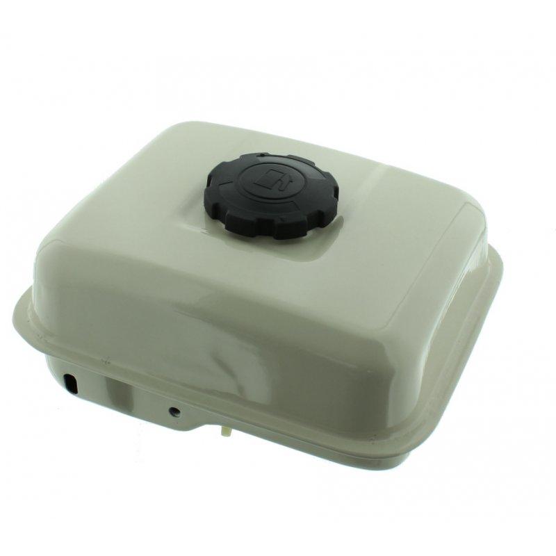 Tank für Lumag Maschinen mit 4,8 KW Benzin Motor, weiß mit Deckel und Filter